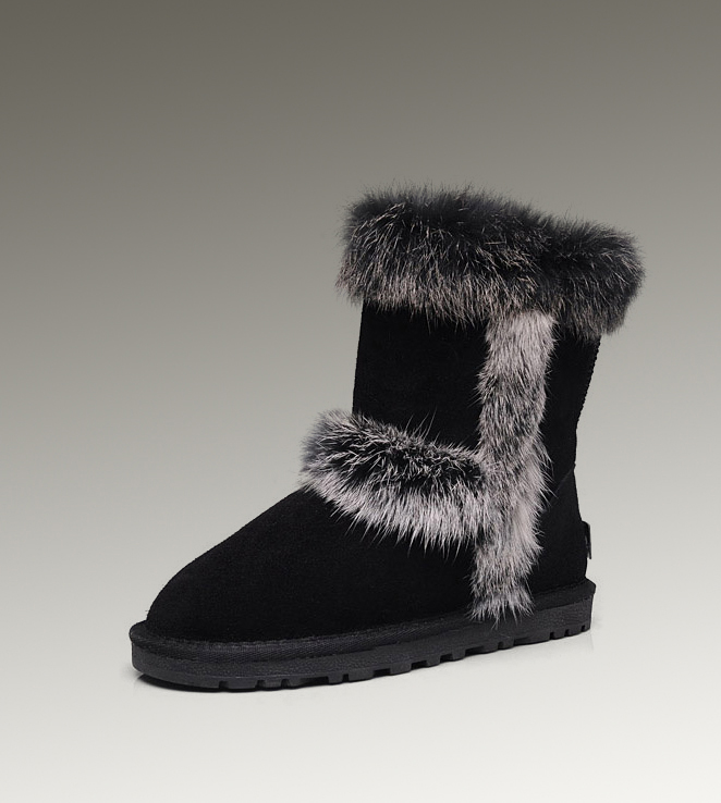 UGG Fox Fur Short 5281 Black Boots