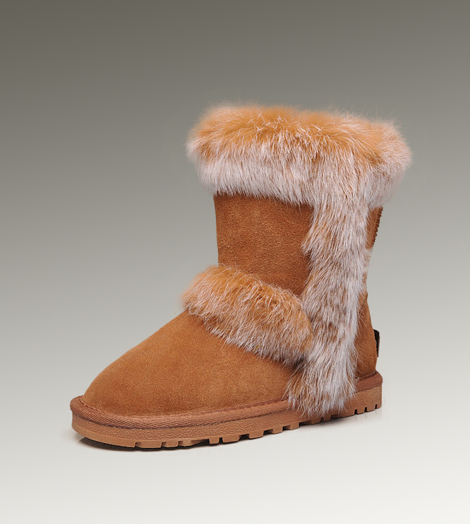 UGG Fox Fur Short 5281 Chestnut Boots