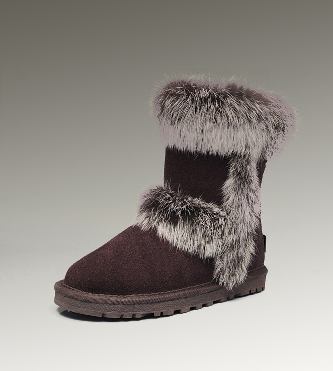 UGG Fox Fur Short 5281 Chocolate Boots