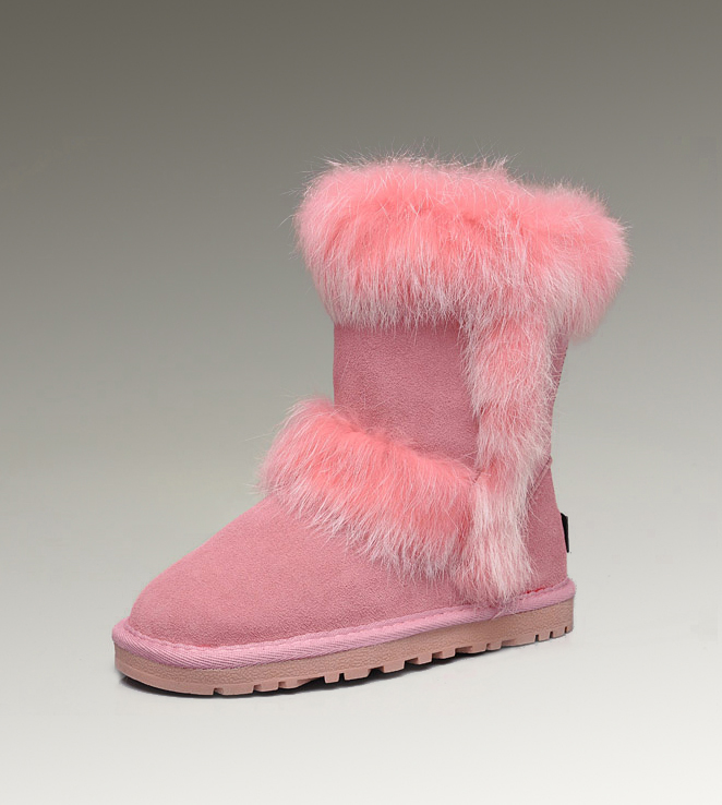 UGG Fox Fur Short 5281 Pink Boots