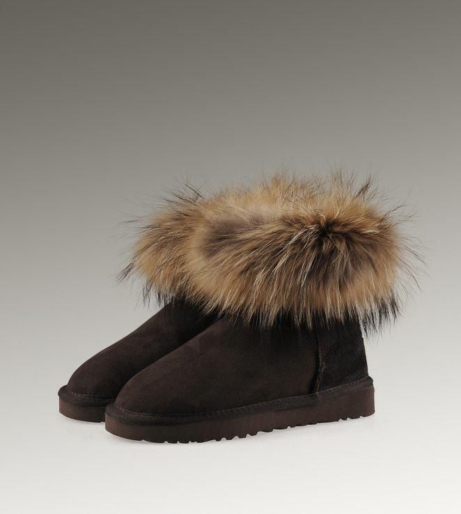 UGG Fox Fur Mini 5854 Black Boots