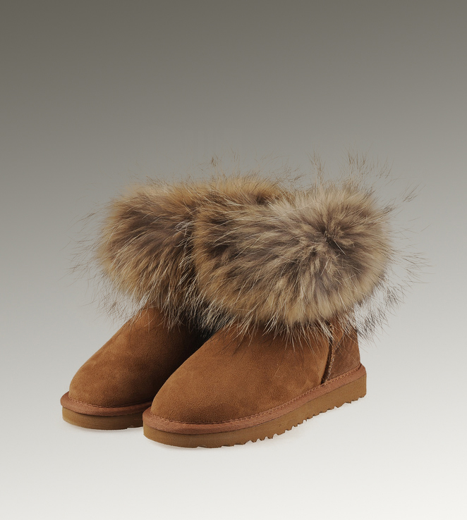 UGG Fox Fur Mini 5854 Chestnut Boots
