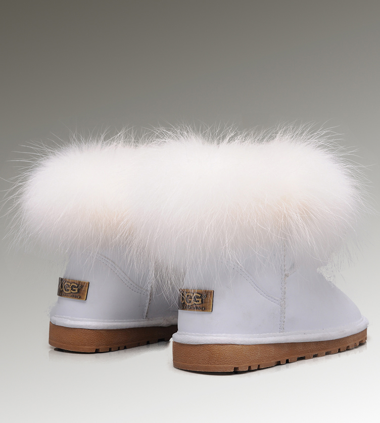 UGG Fox Fur Mini 5854 White Boots
