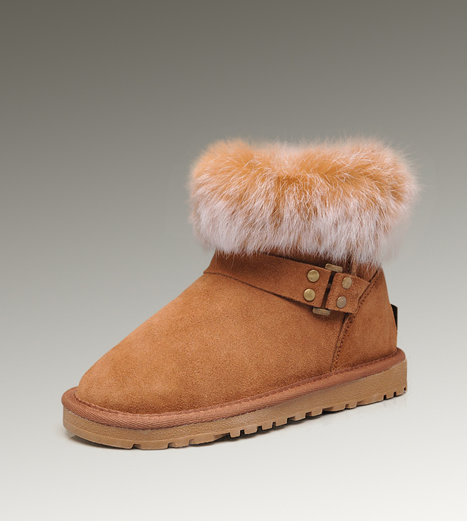 UGG Fox Fur Mini 5859 Chestnut Boots