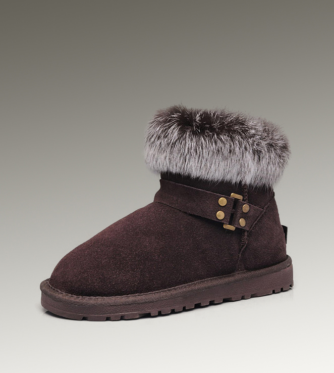 UGG Fox Fur Mini 5859 Chocolate Boots