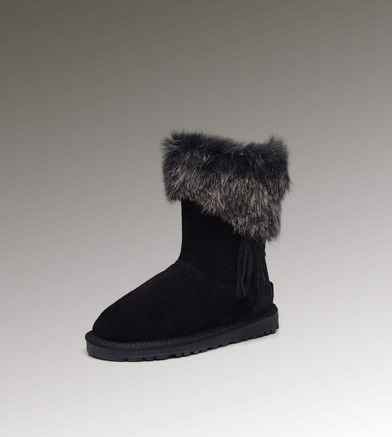 UGG Fox Fur Short 2894 Black Boots