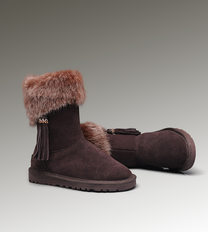 UGG Fox Fur Short 2894 Chocolate Boots