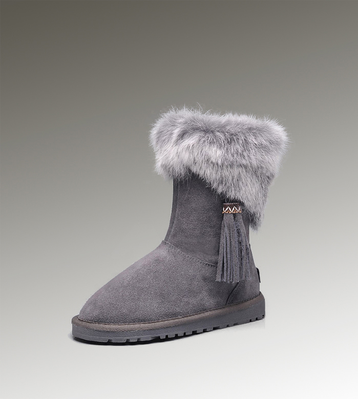 UGG Fox Fur Short 2894 Grey Boots