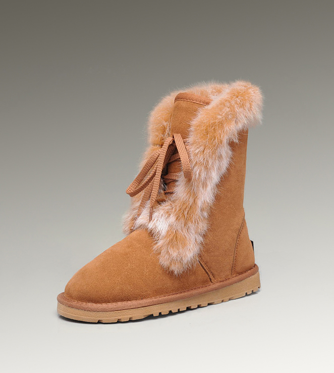 UGG Fox Fur Short 3586 Chestnut Boots