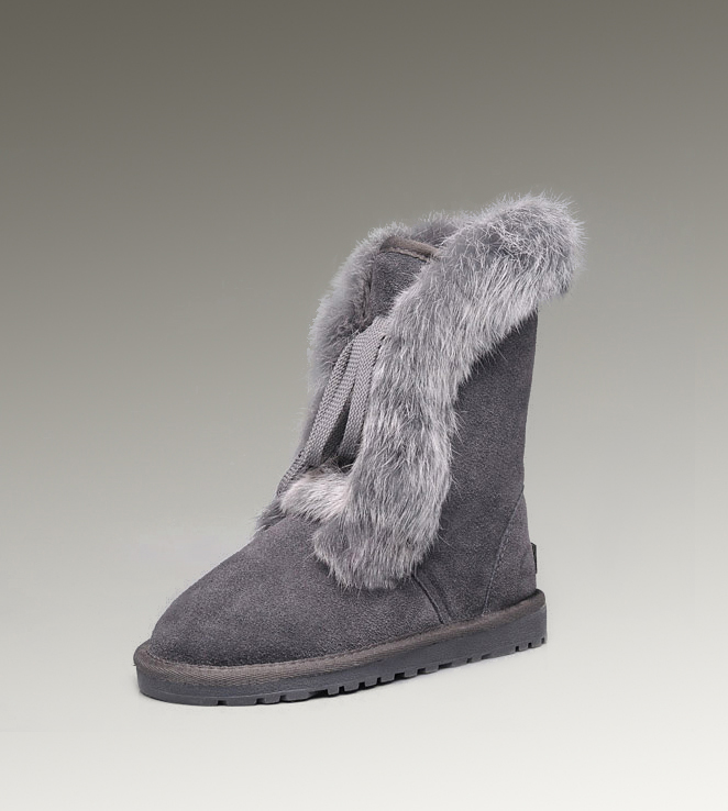 UGG Fox Fur Short 3586 Grey Boots