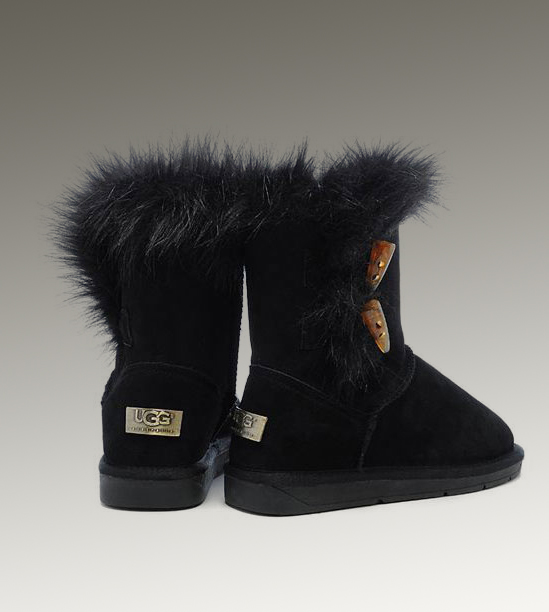 UGG Fox Fur Short 5685 Black Boots