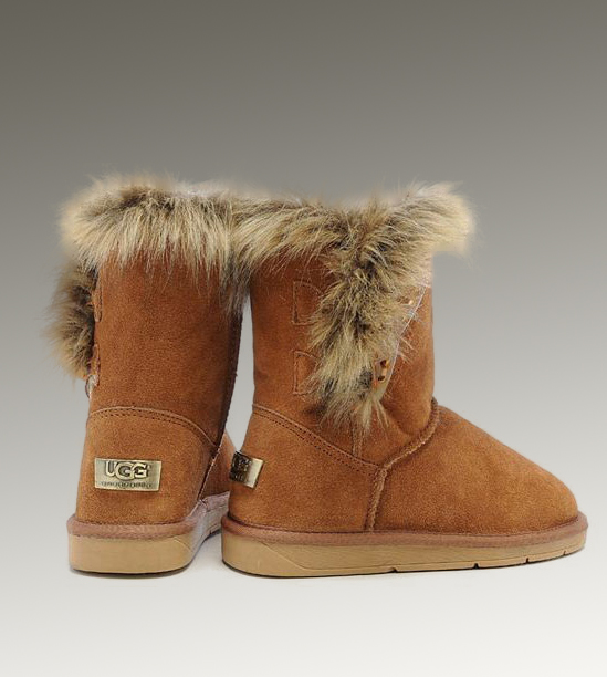 UGG Fox Fur Short 5685 Chestnut Boots