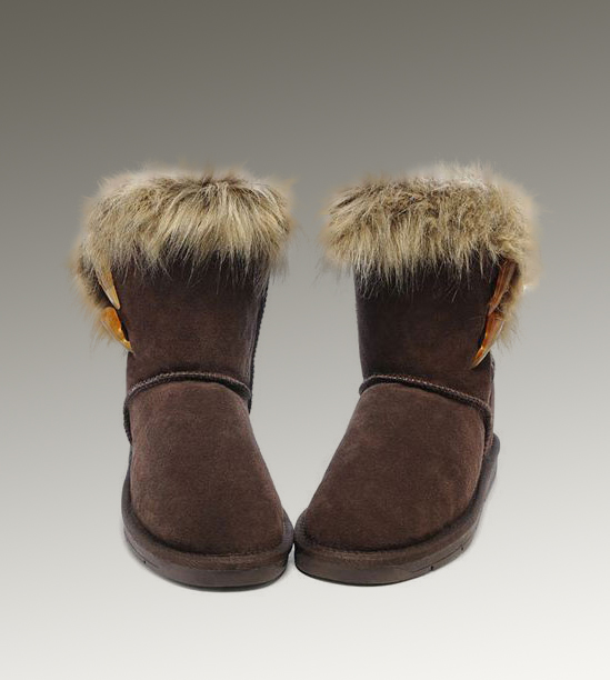 UGG Fox Fur Short 5685 Chocolate Boots