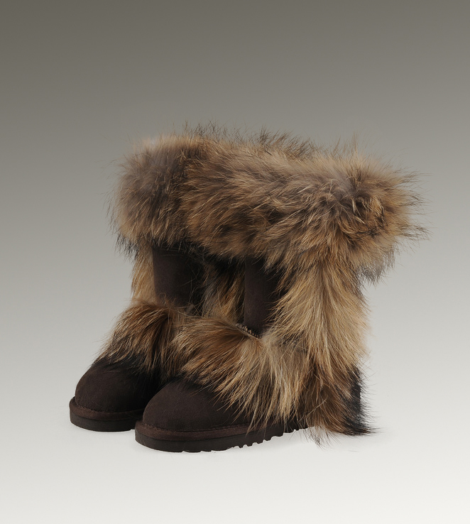 UGG Fox Fur Short 5825 Black Boots