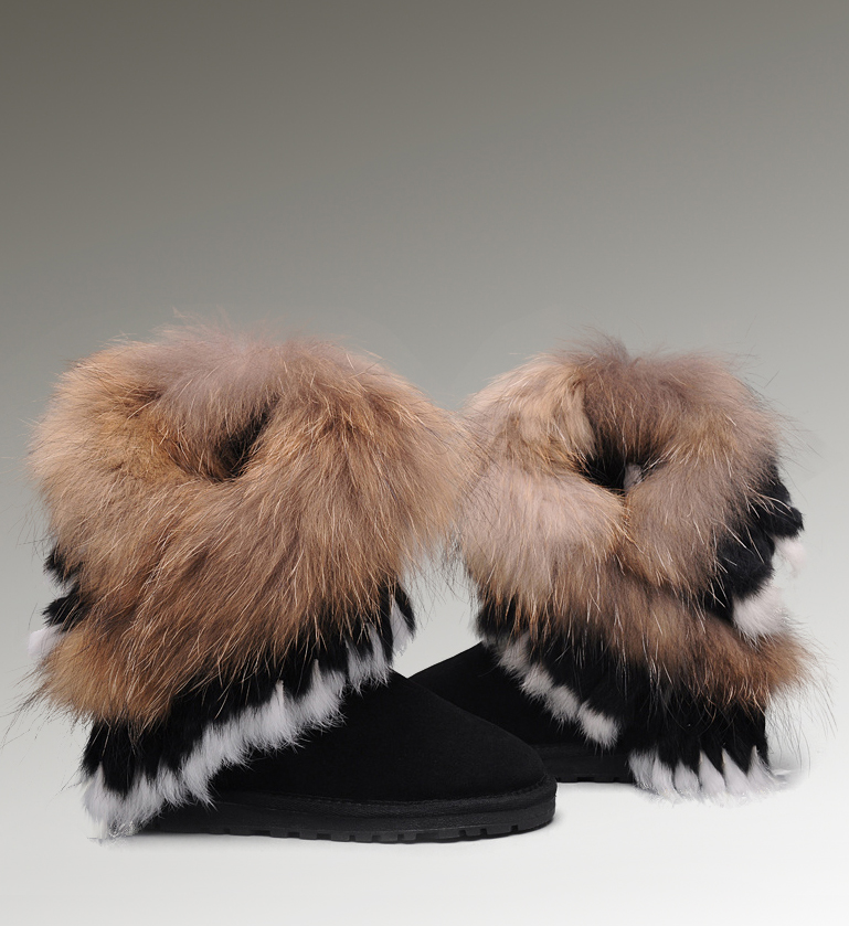 UGG Fox Fur Short 8288 Black Boots