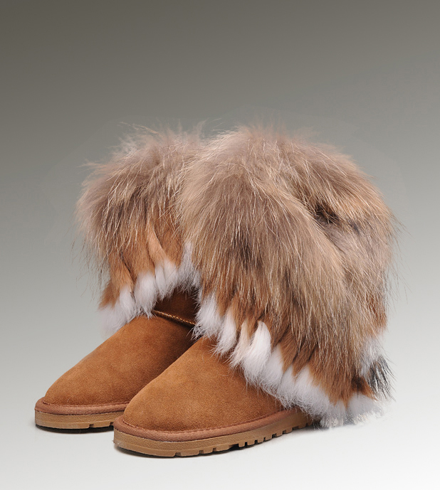 UGG Fox Fur Short 8288 Chocolate Boots