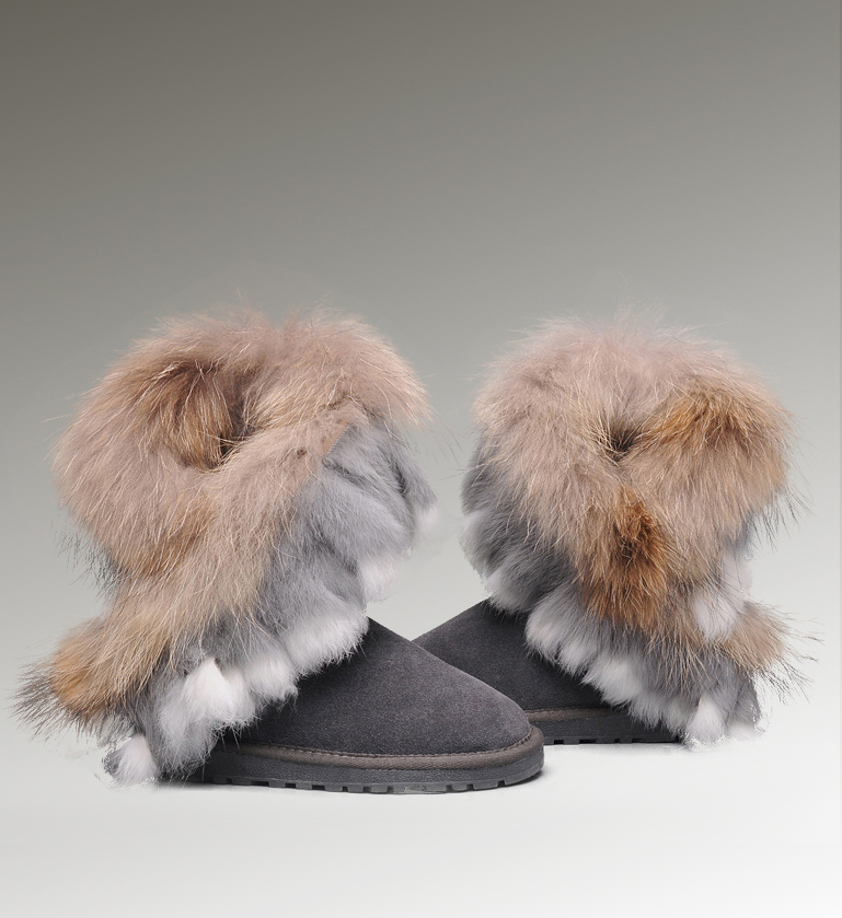 UGG Fox Fur Short 8288 Grey Boots