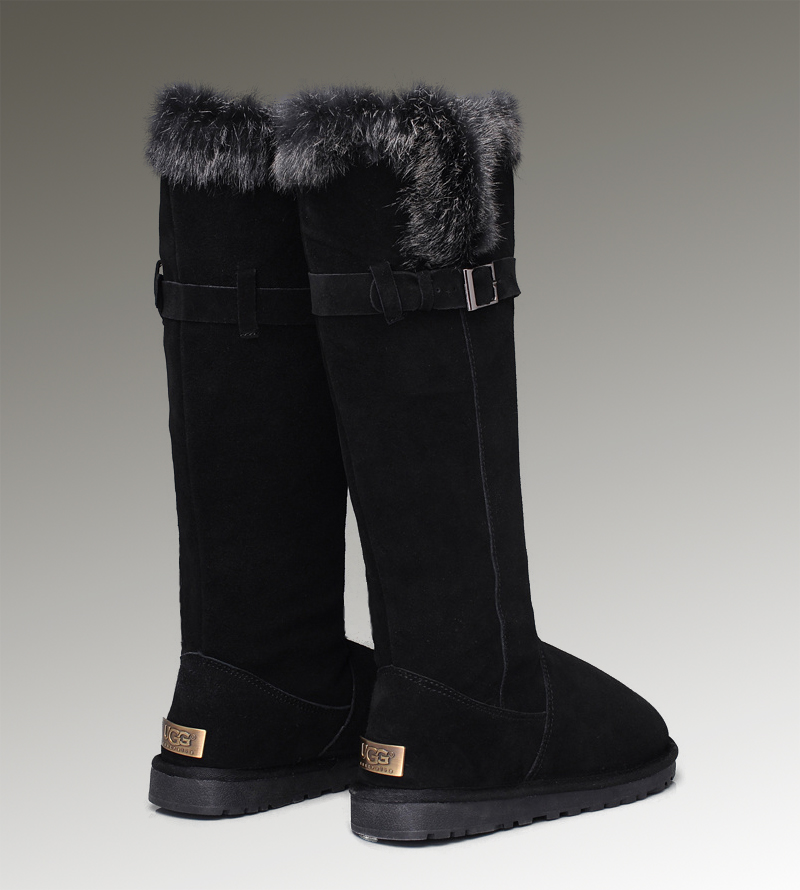 UGG Fox Fur Tall 1852 Black Boots