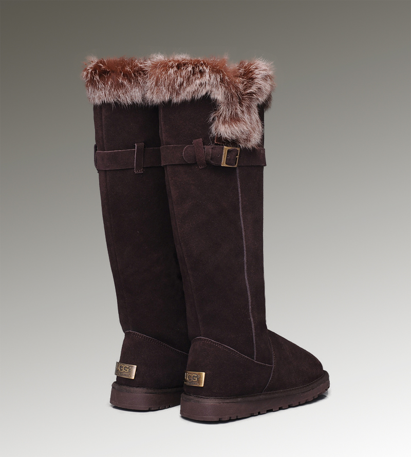 UGG Fox Fur Tall 1852 Chocolate Boots