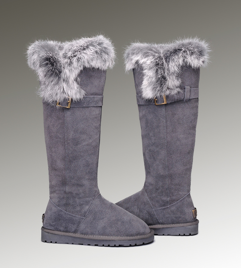 UGG Fox Fur Tall 1852 Grey Boots