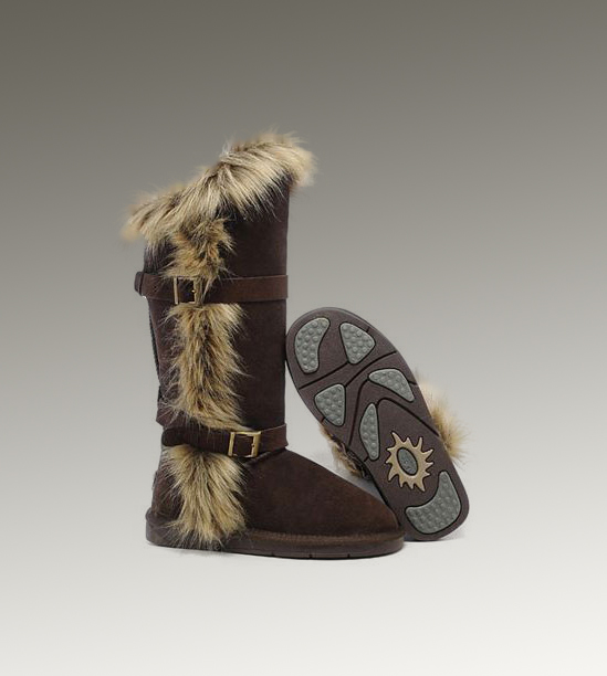 UGG Fox Fur Tall 1984 Chocolate Boots