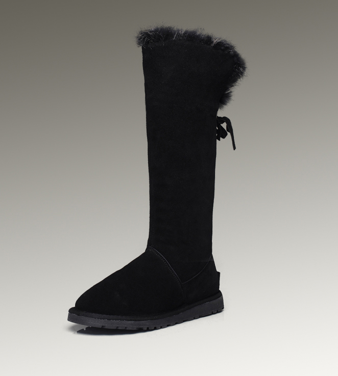 UGG Fox Fur Tall 5369 Black Boots