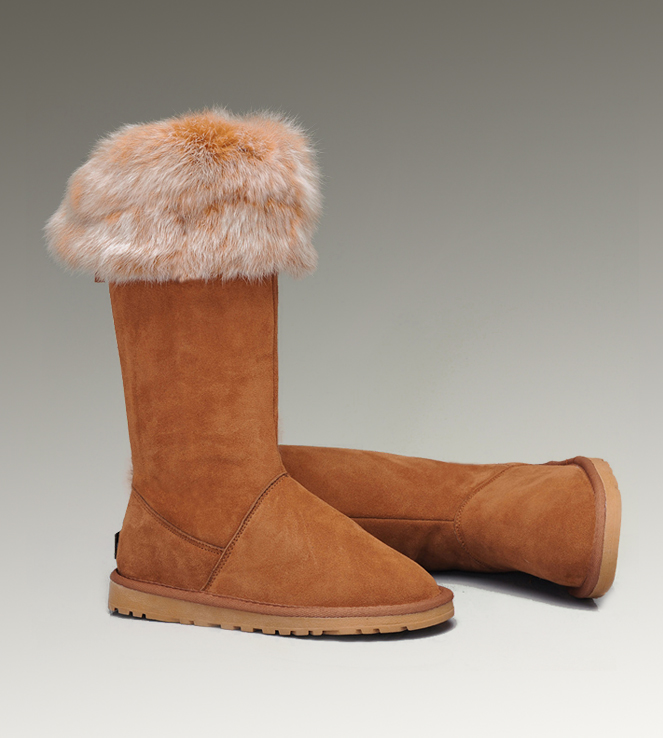 UGG Fox Fur Tall 5369 Chestnut Boots