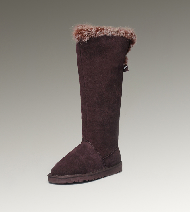UGG Fox Fur Tall 5369 Chocolate Boots