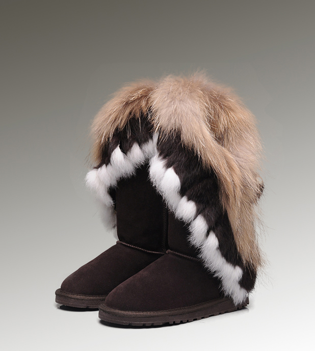 UGG Fox Fur Tall 8688 Chocolate Boots