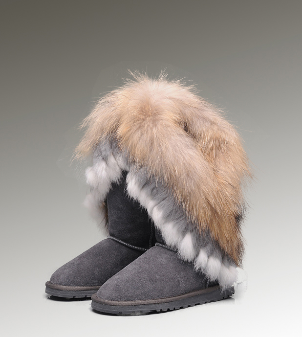 UGG Fox Fur Tall 8688 Grey Boots